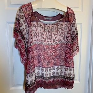 Maurices RED/WHITE Shear Blouse Size 1X